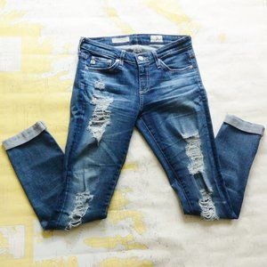 Ag Adriano Goldschmied Stilt Roll-up Ripped Jeans